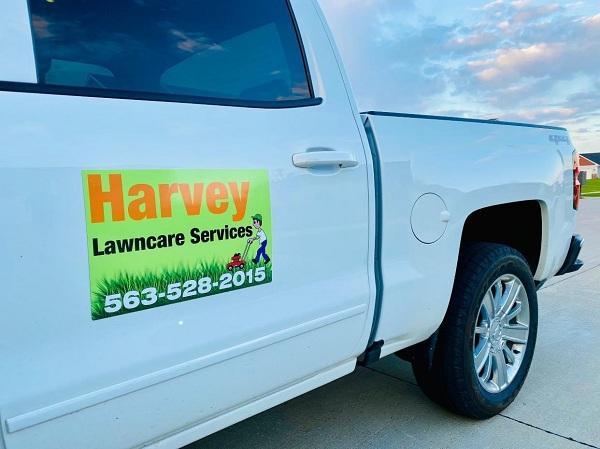 Commercial Vehicle Wraps for Harvey Lawncare Services in Davenport, Iowa